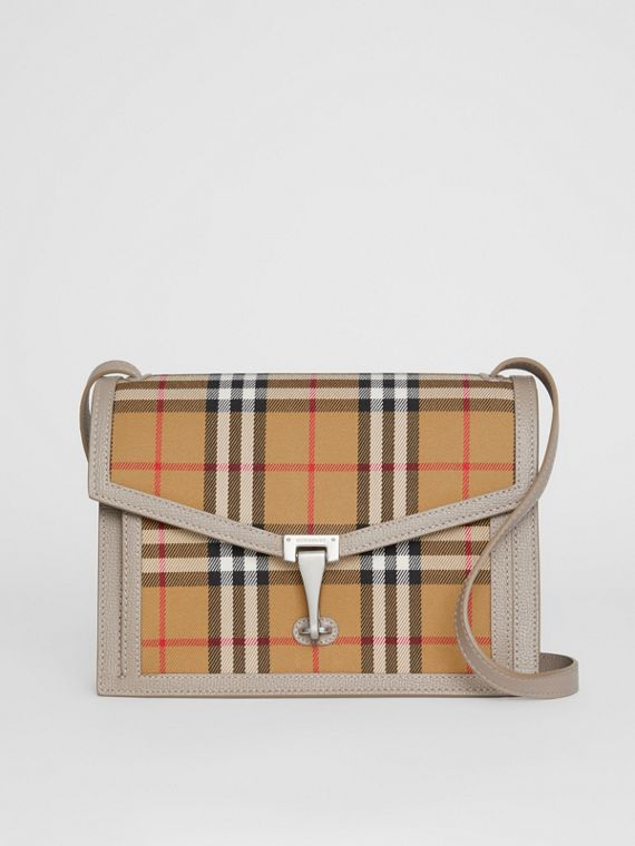 Small Vintage Check and Leather Crossbody Bag in Taupe Brown