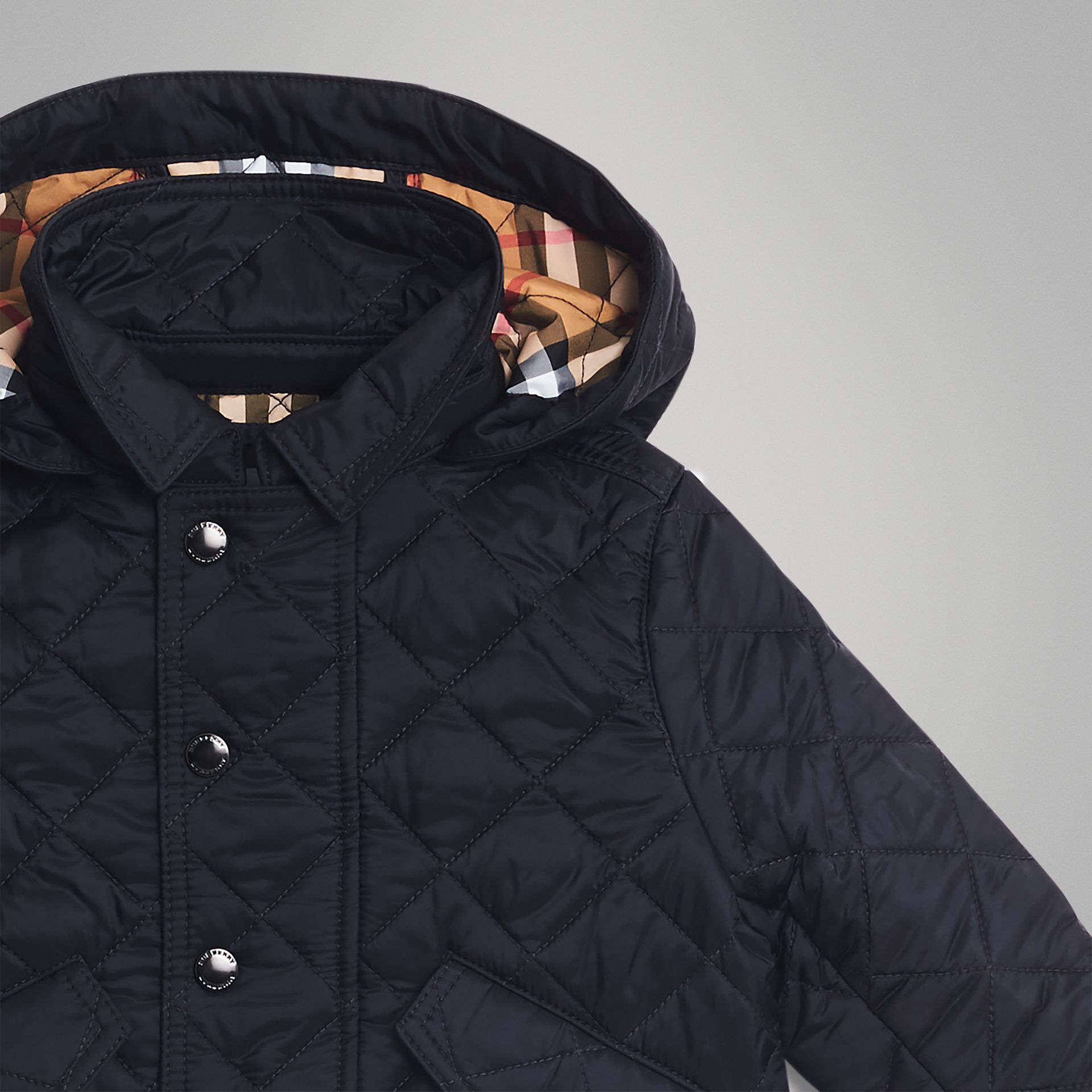 Diamond Quilted Hooded Jacket in Navy - Children | Burberry United Kingdom - gallery image 4