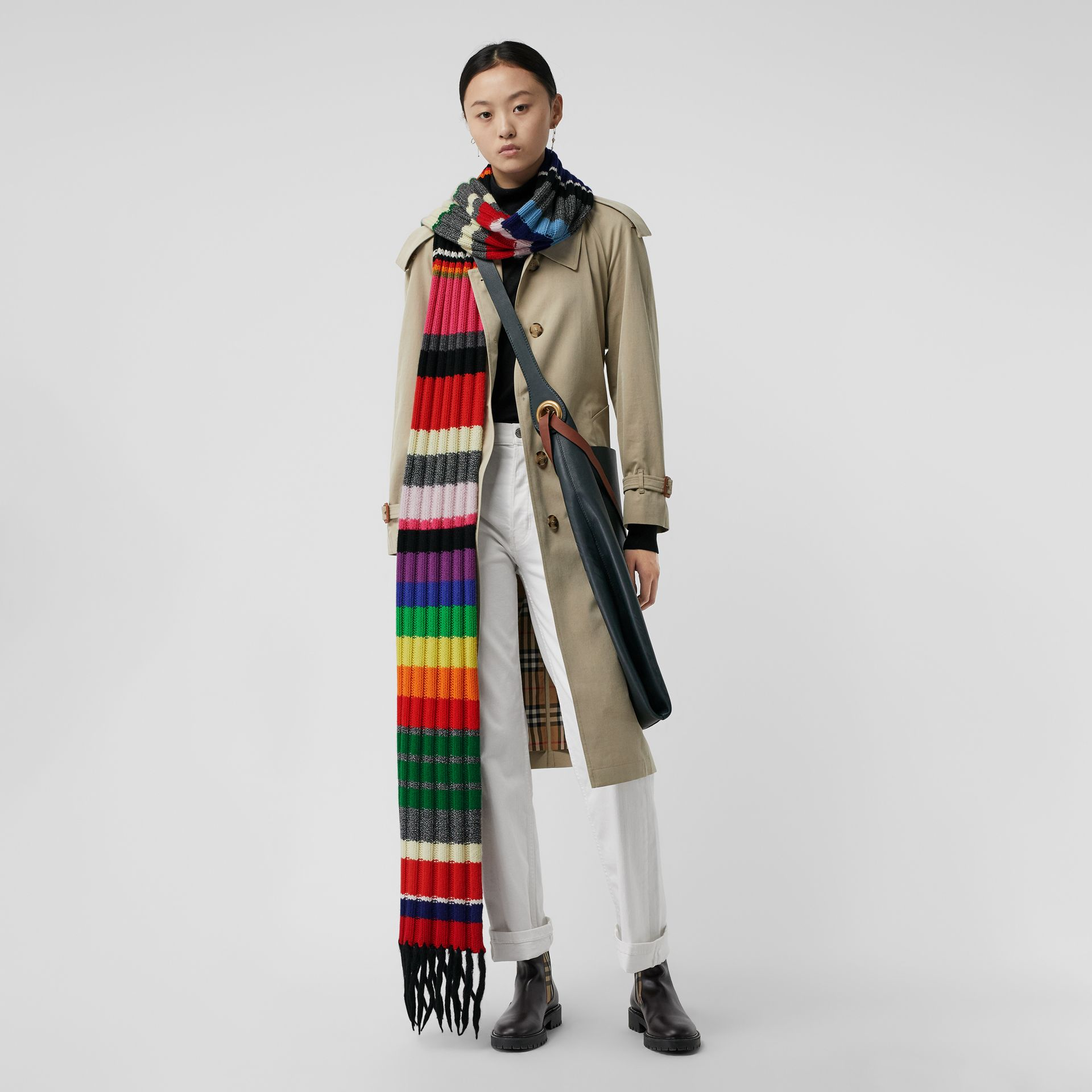 Striped Chunky Knit Cashmere Wool Blend Scarf in Multicolour | Burberry - gallery image 2