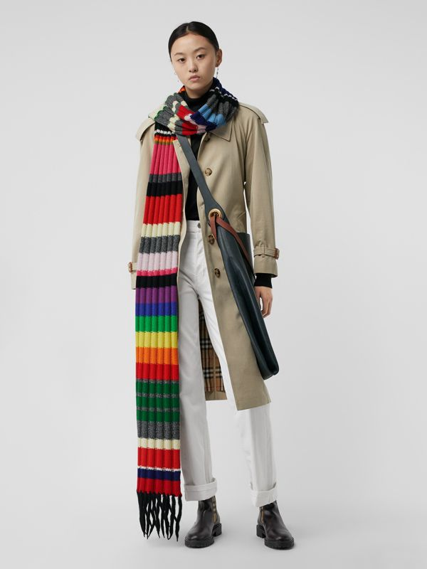 Striped Chunky Knit Cashmere Wool Blend Scarf in Multicolour | Burberry - cell image 2