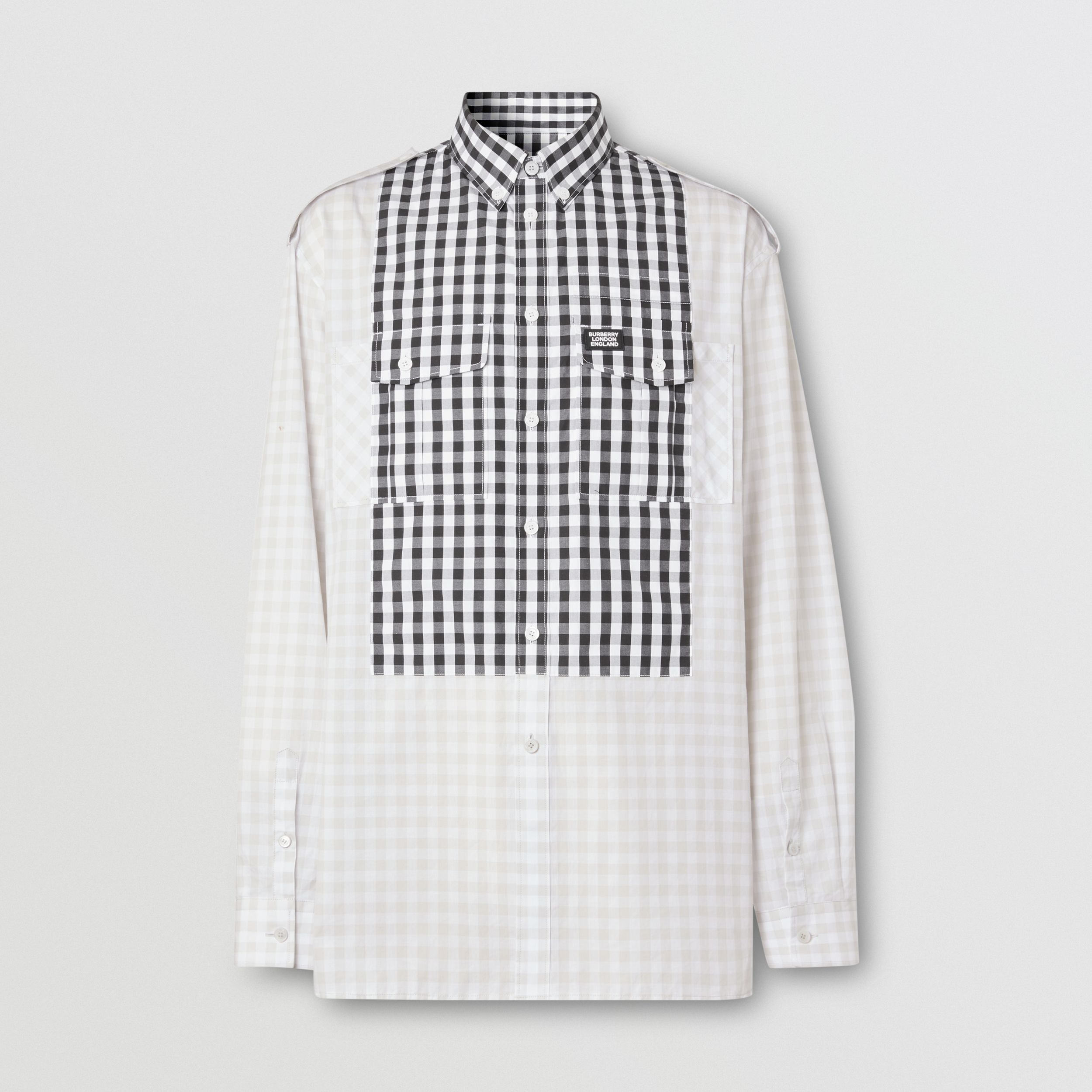 Contrast Bib Gingham Cotton Poplin Oversized Shirt in Light Pebble Grey - Men | Burberry - 4