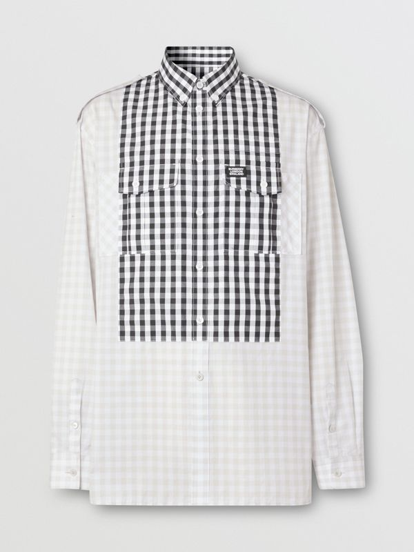 Contrast Bib Gingham Cotton Poplin Oversized Shirt in Light Pebble Grey | Burberry Singapore - cell image 3