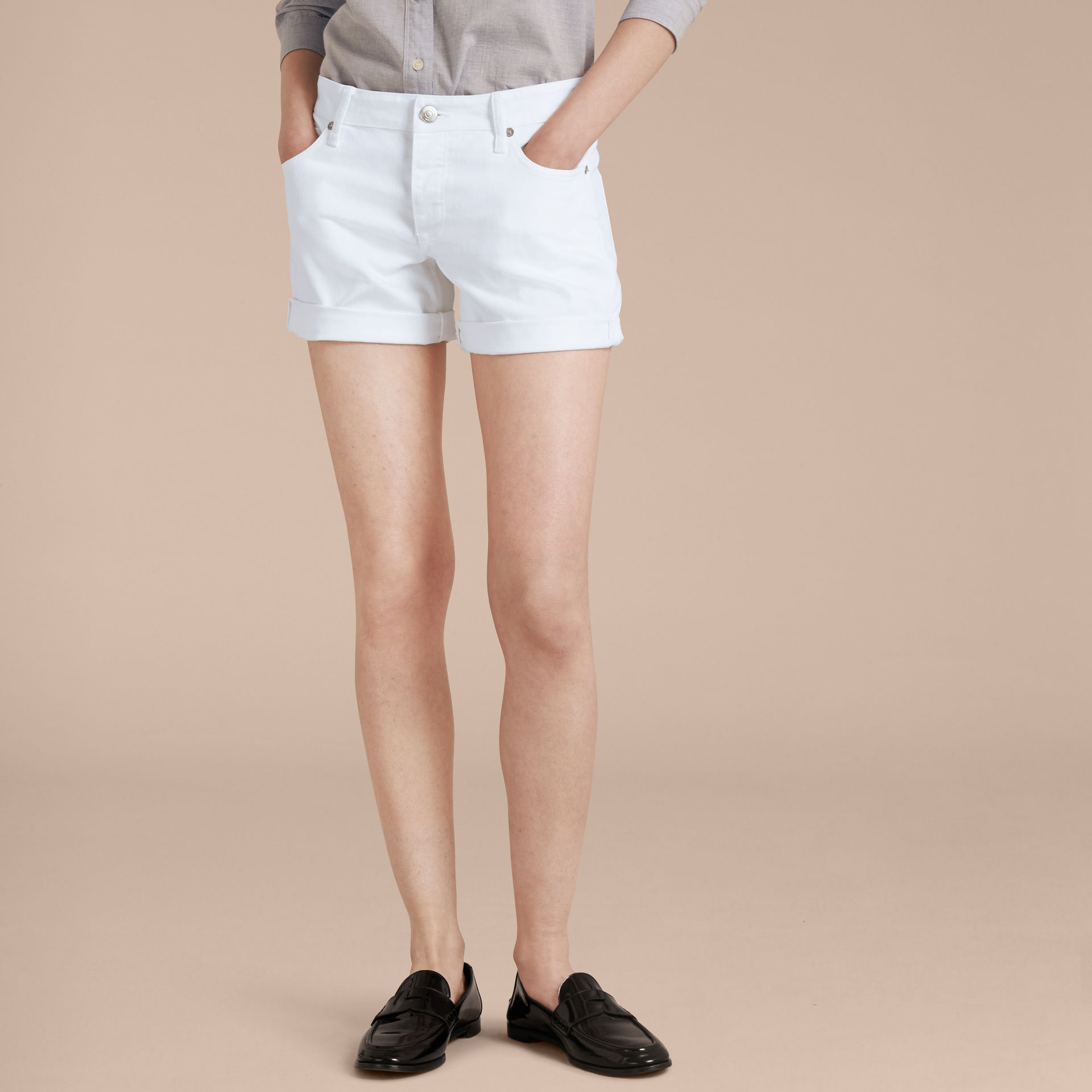 White Low-Rise Japanese Denim Shorts - gallery image 7
