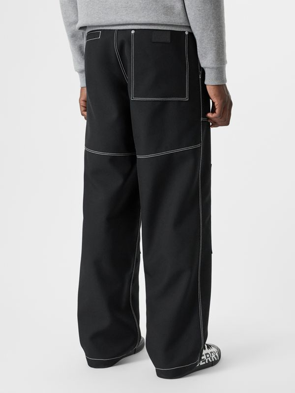 Topstitch Detail Wool Blend Wide-leg Trousers in Black - Men | Burberry United States - cell image 2