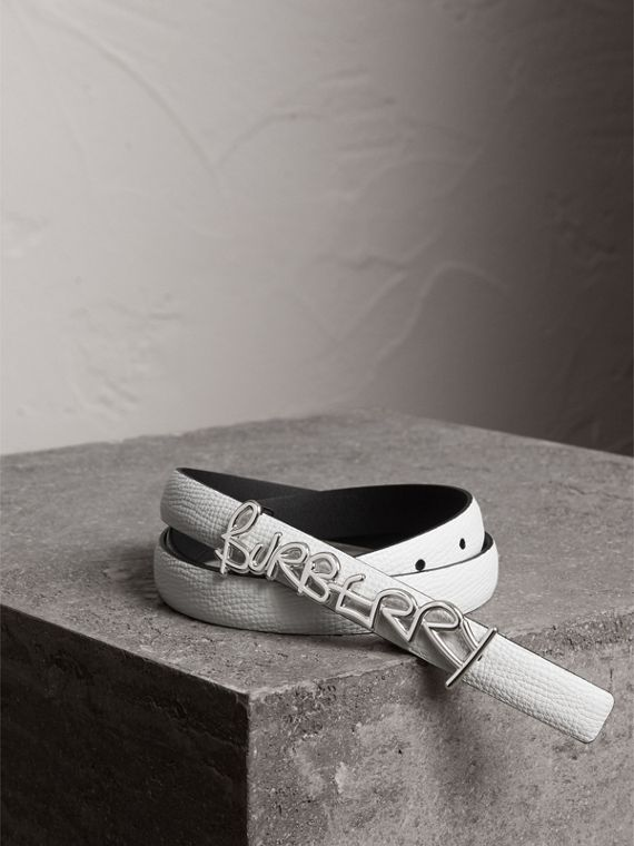 Doodle Detail Reversible Leather Belt in White/black