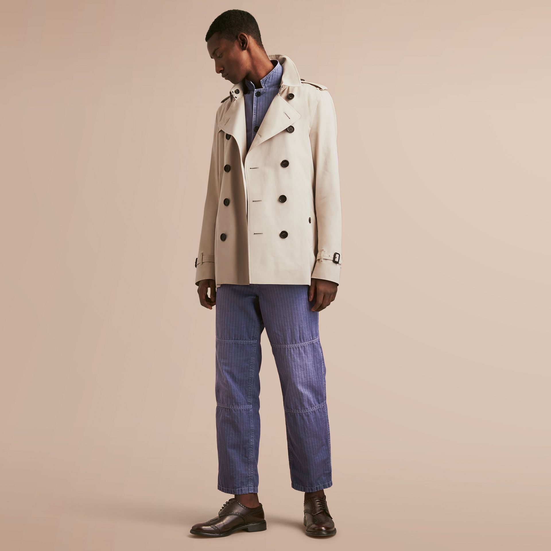 The Kensington – Short Heritage Trench Coat in Stone - gallery image 1