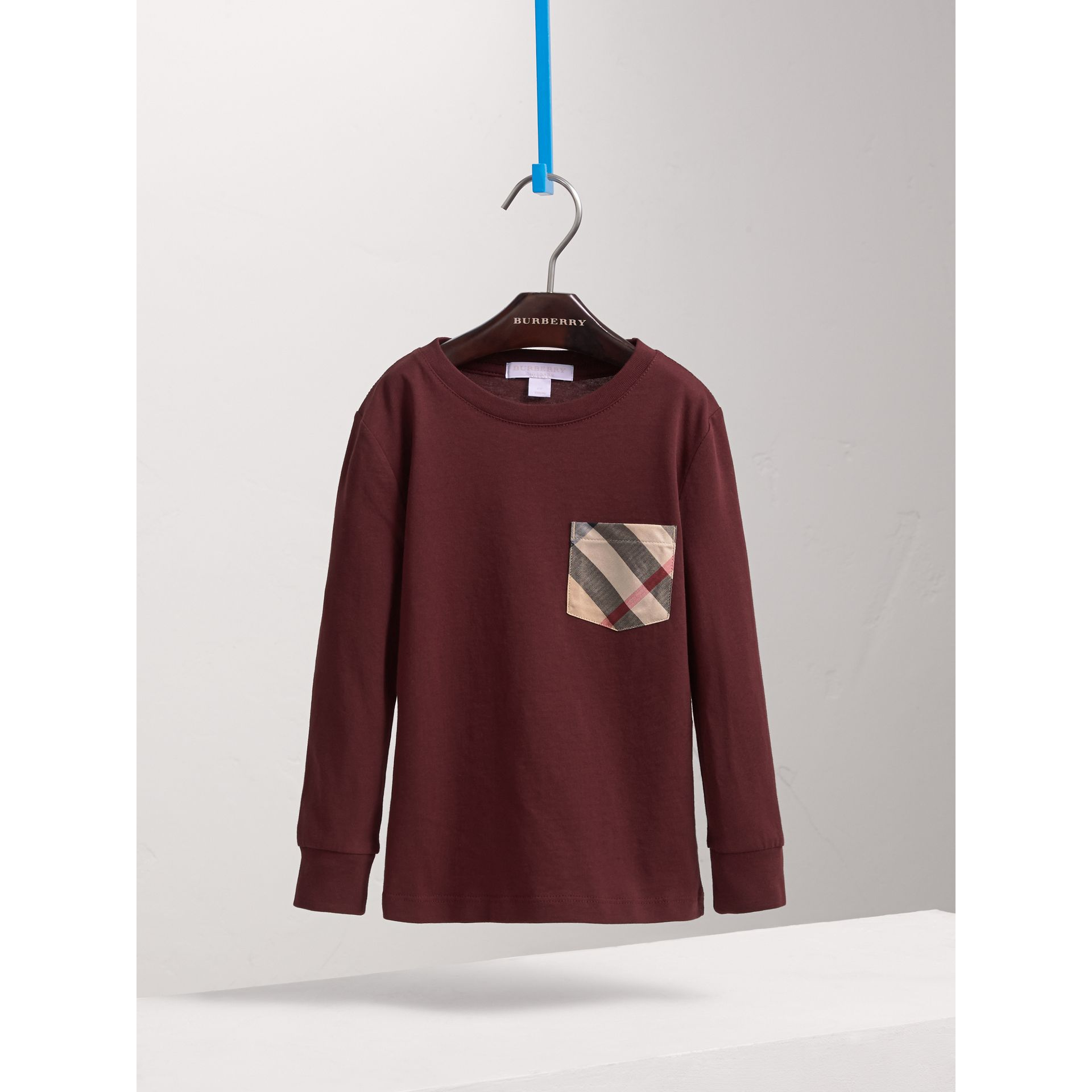 Long-sleeve Check Pocket Cotton T-shirt in Oxblood - Boy | Burberry - gallery image 3