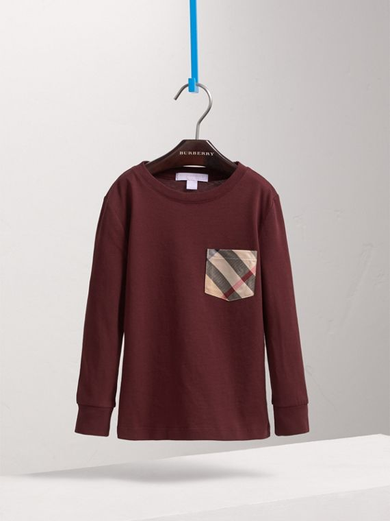 Long-sleeve Check Pocket Cotton T-shirt in Oxblood - Boy | Burberry - cell image 2