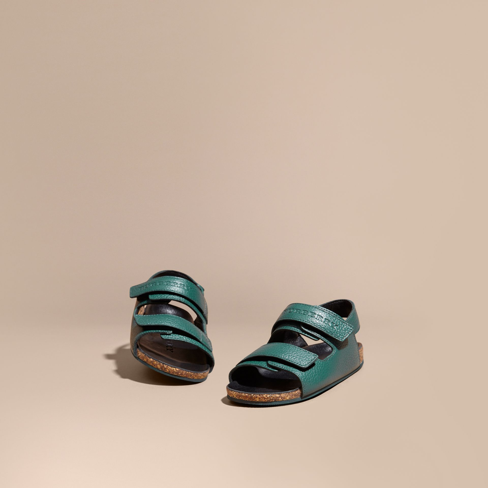 Deep viridian green Leather Sandals - gallery image 1