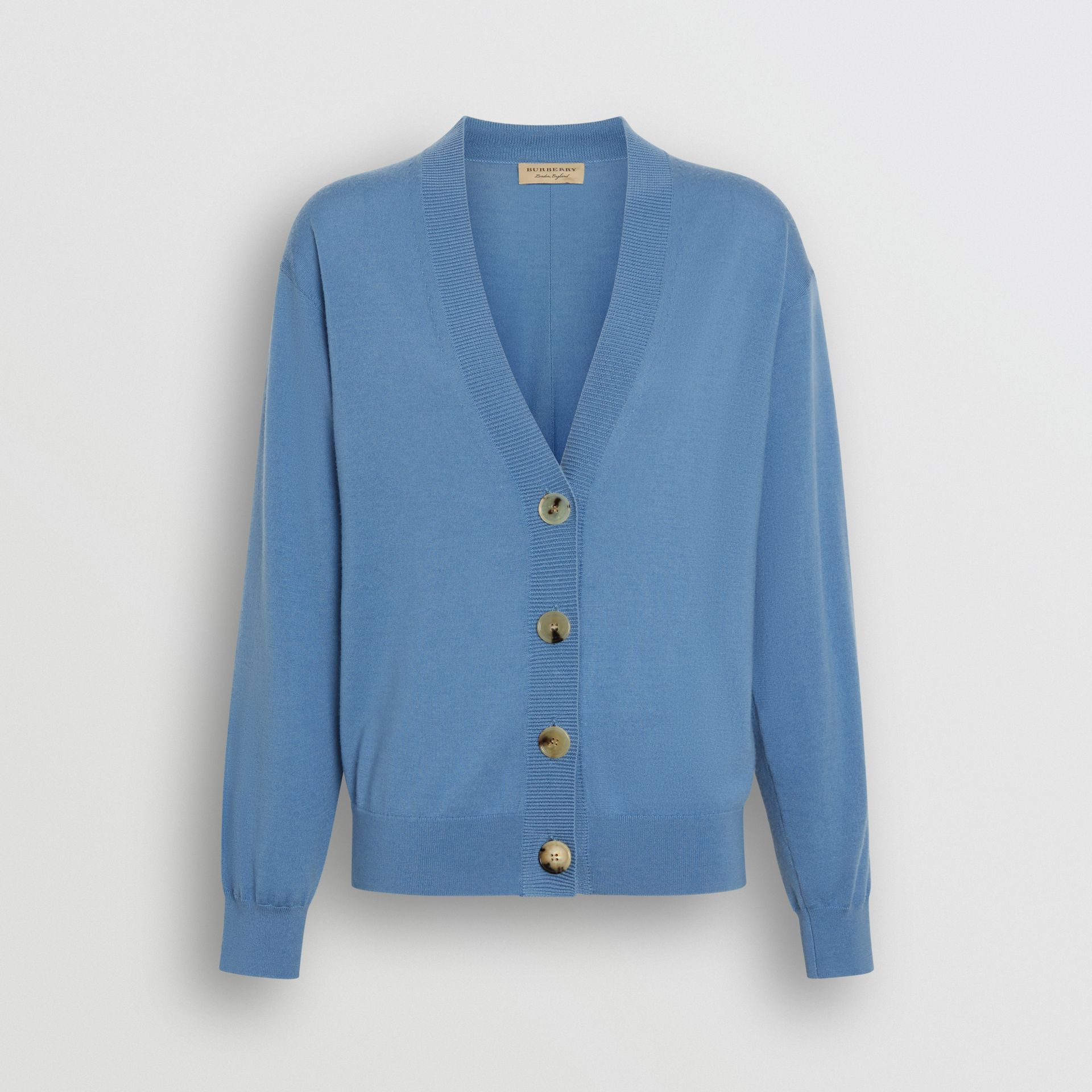 Logo Detail Merino Wool Cardigan in Pebble Blue - Women | Burberry - gallery image 3