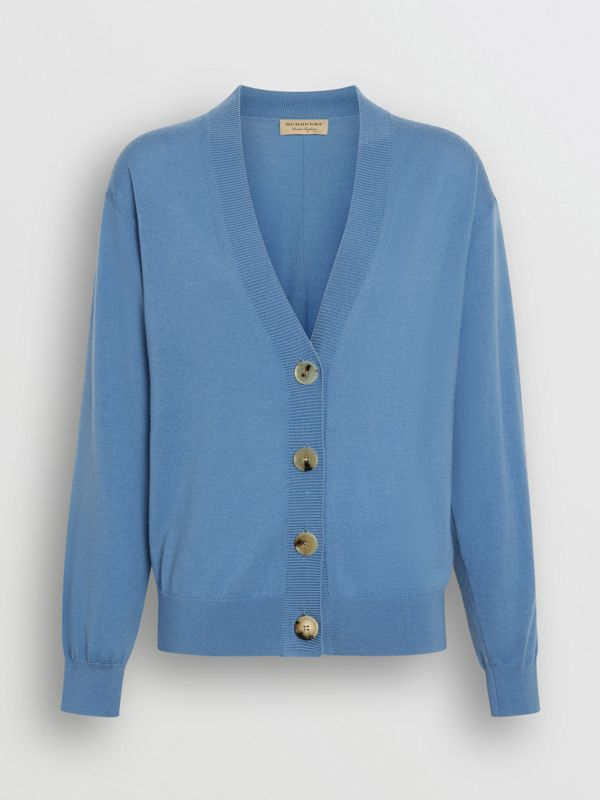 Logo Detail Merino Wool Cardigan in Pebble Blue - Women | Burberry - cell image 3