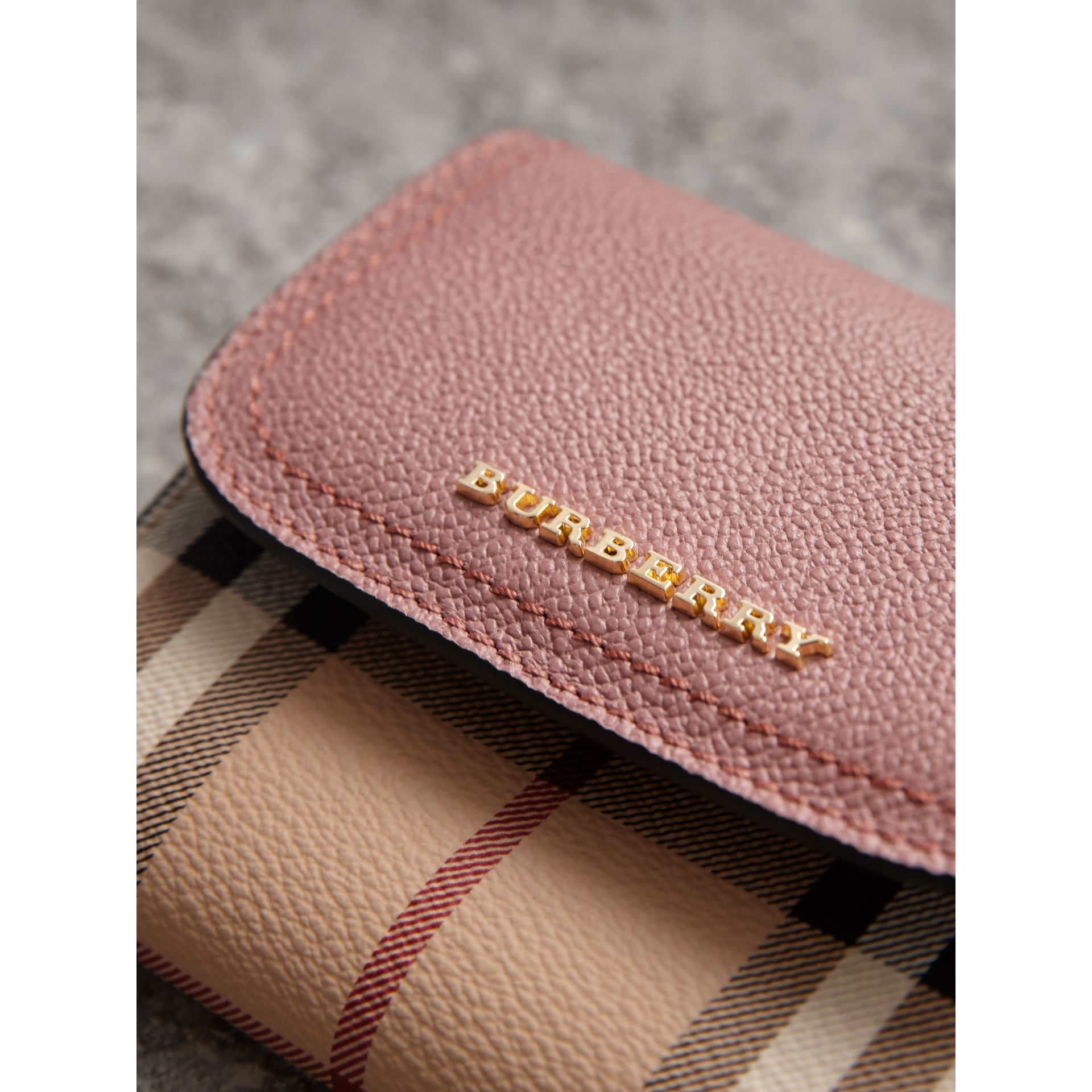 Haymarket Check and Leather Wallet in Dusty Pink/multicolour - Women | Burberry - gallery image 1