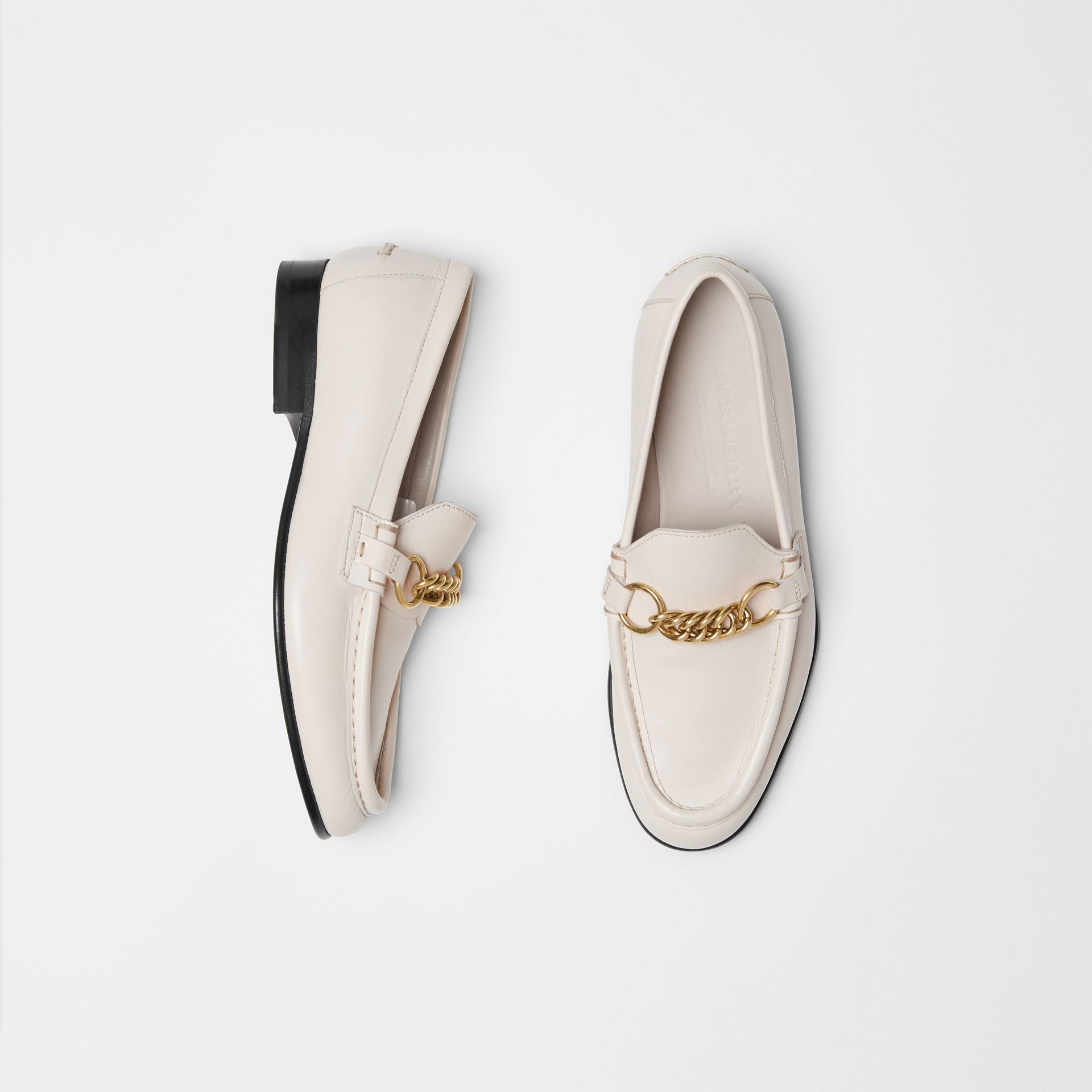 The Leather Link Loafer in Ash White - Women | Burberry - gallery image 0