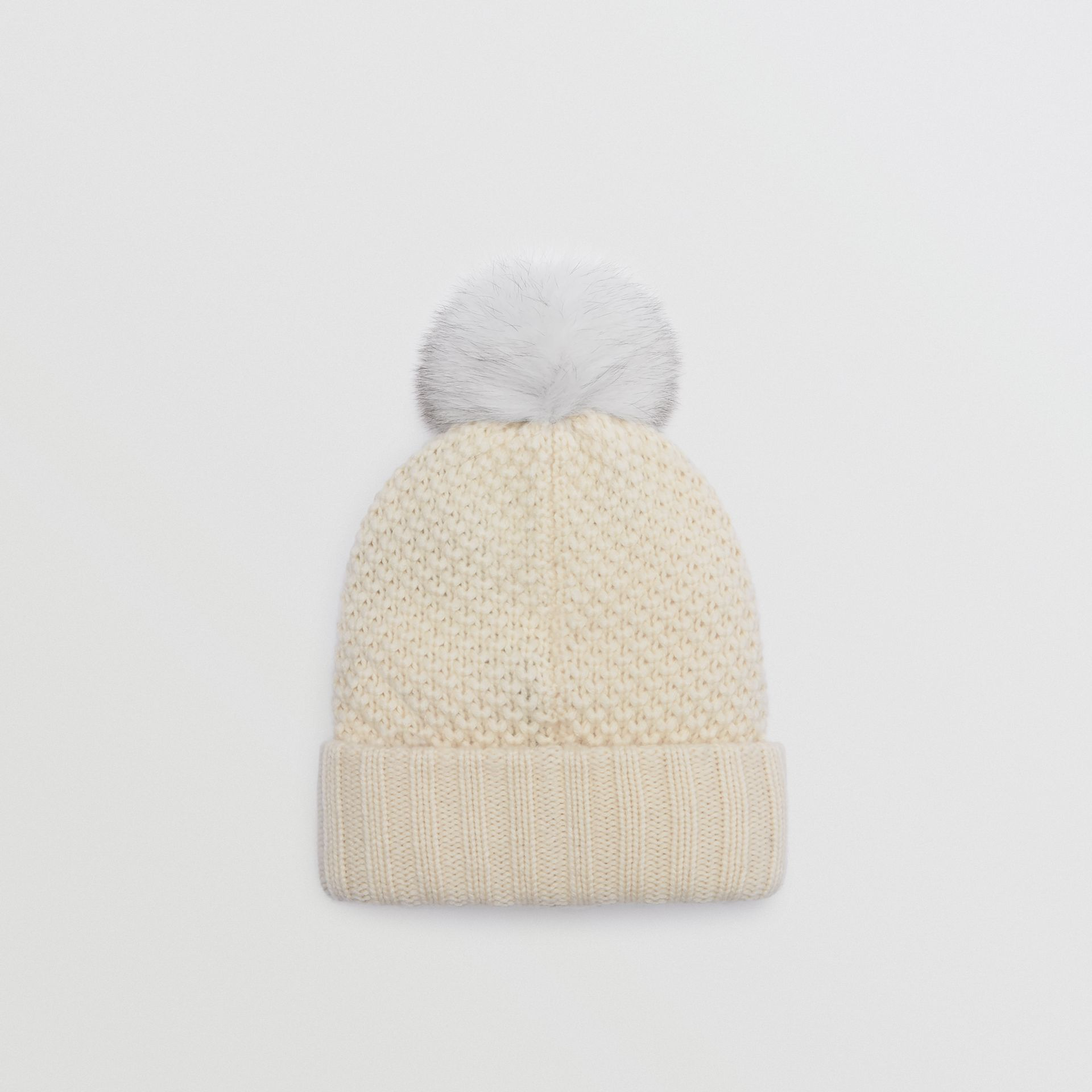 Fur Pom-Pom Beanie in Ivory - Women | Burberry United Kingdom - gallery image 2