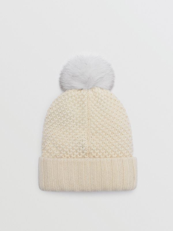 Fur Pom-Pom Beanie in Ivory - Women | Burberry - cell image 2