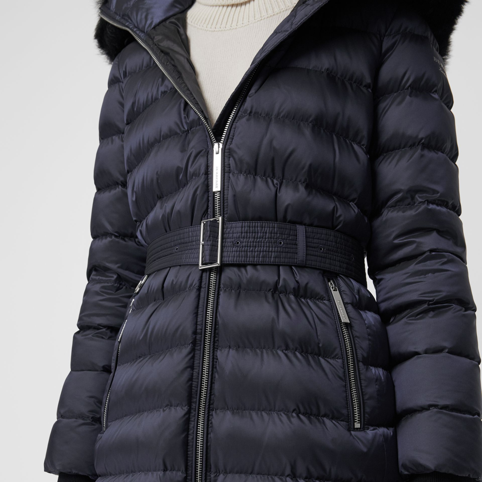 Detachable Shearling Trim Down-filled Puffer Coat in Navy - Women | Burberry - gallery image 4