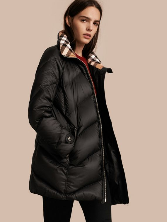 Chevron-quilted Down-filled Coat Black