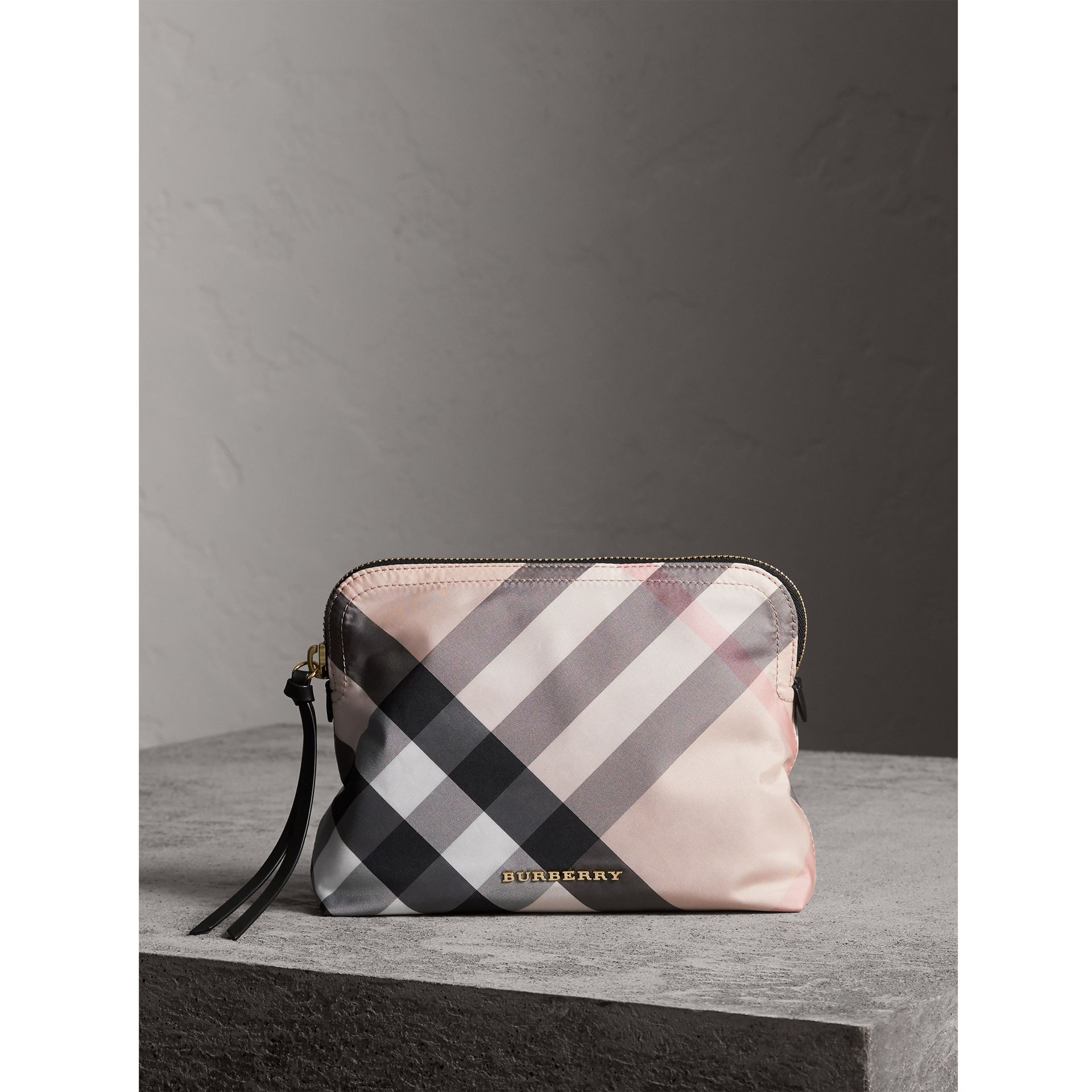 Large Zip-top Check Pouch in Ash Rose - Women | Burberry United Kingdom - gallery image 1