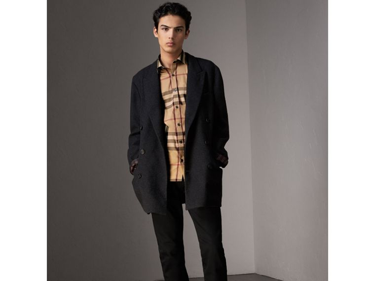 Check Stretch Cotton Shirt in Camel - Men | Burberry Canada - cell image 4