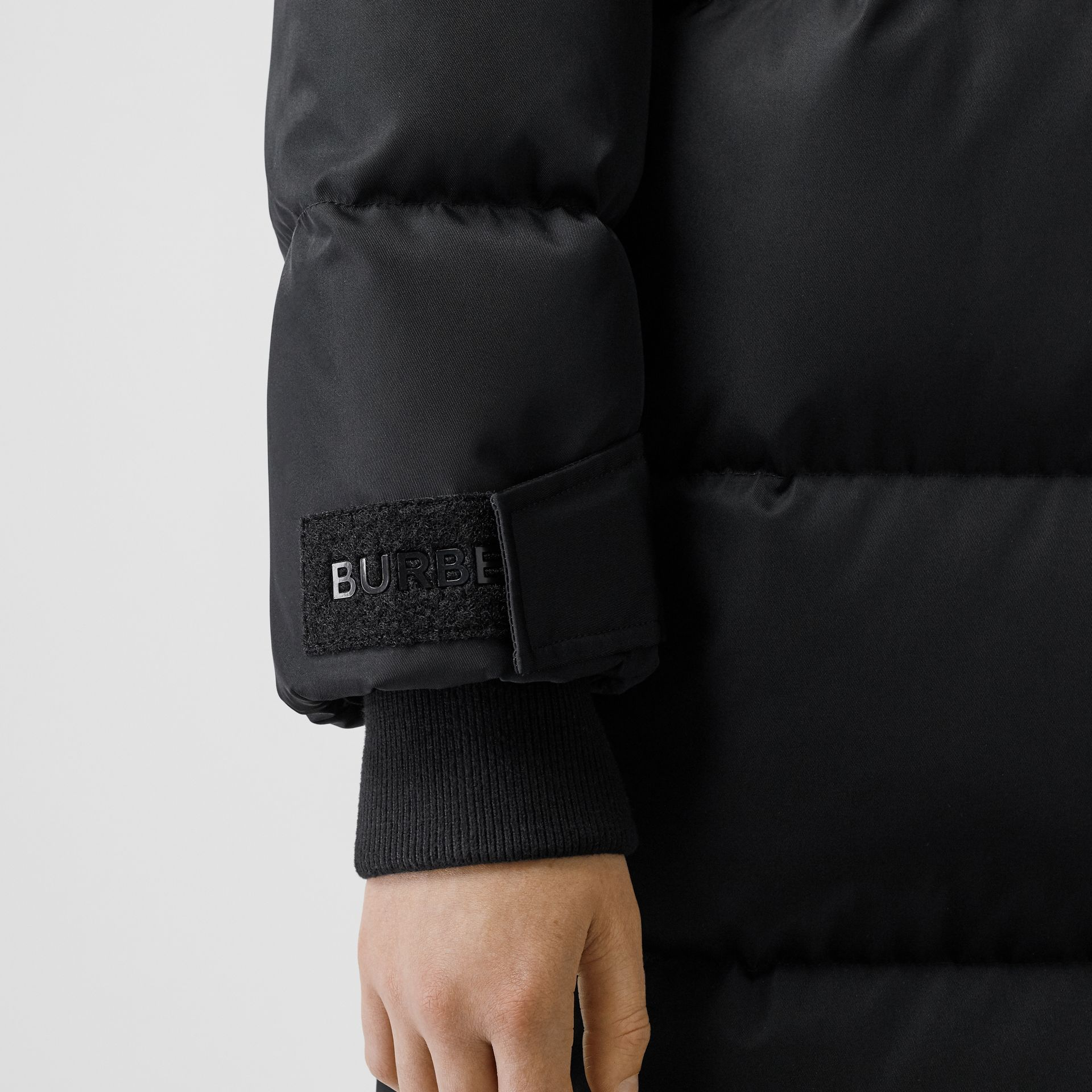 Logo Detail Puffer Coat in Black - Women | Burberry - gallery image 4