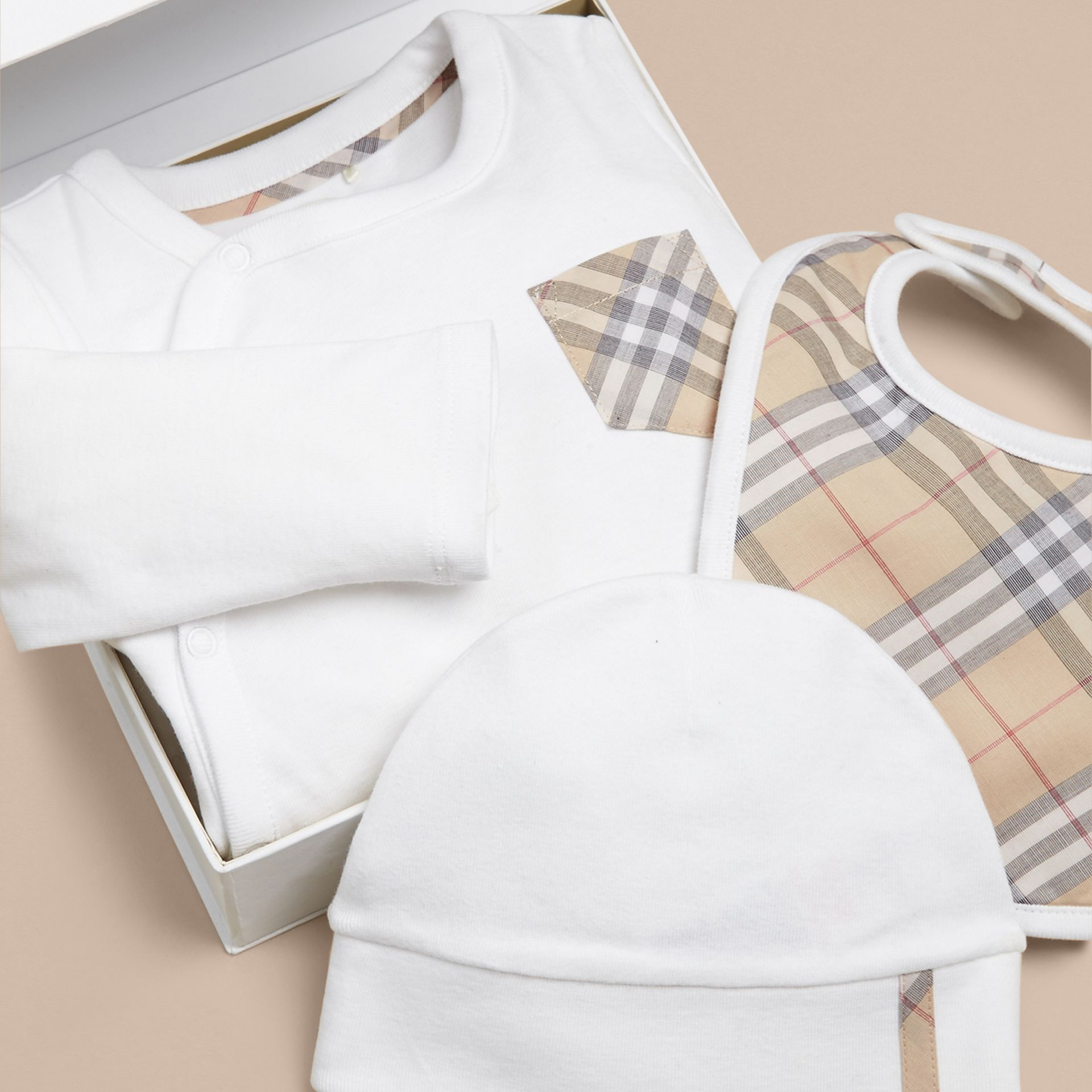 Check Cotton Three-piece Baby Gift Set in White | Burberry Canada - gallery image 1