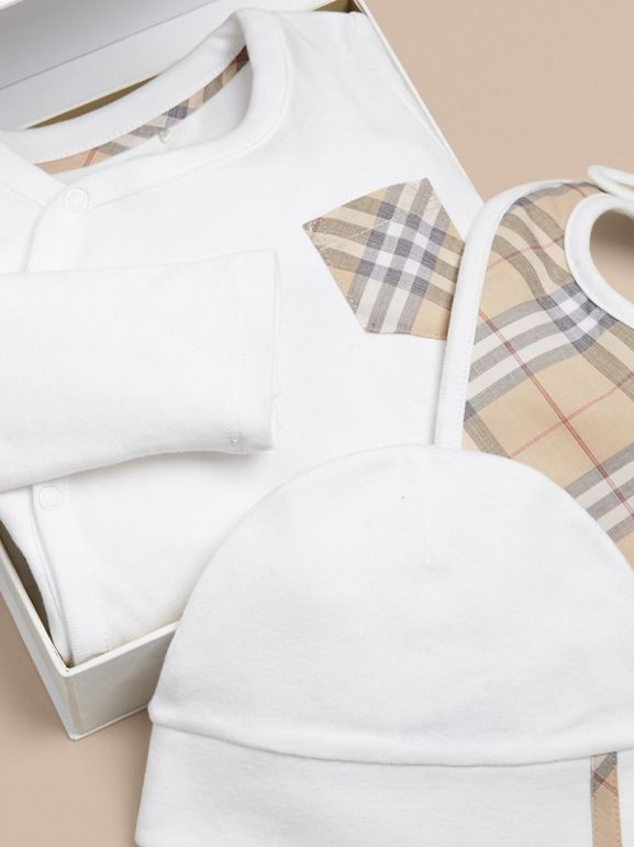Check Cotton Three-piece Baby Gift Set in White | Burberry Australia - cell image 1