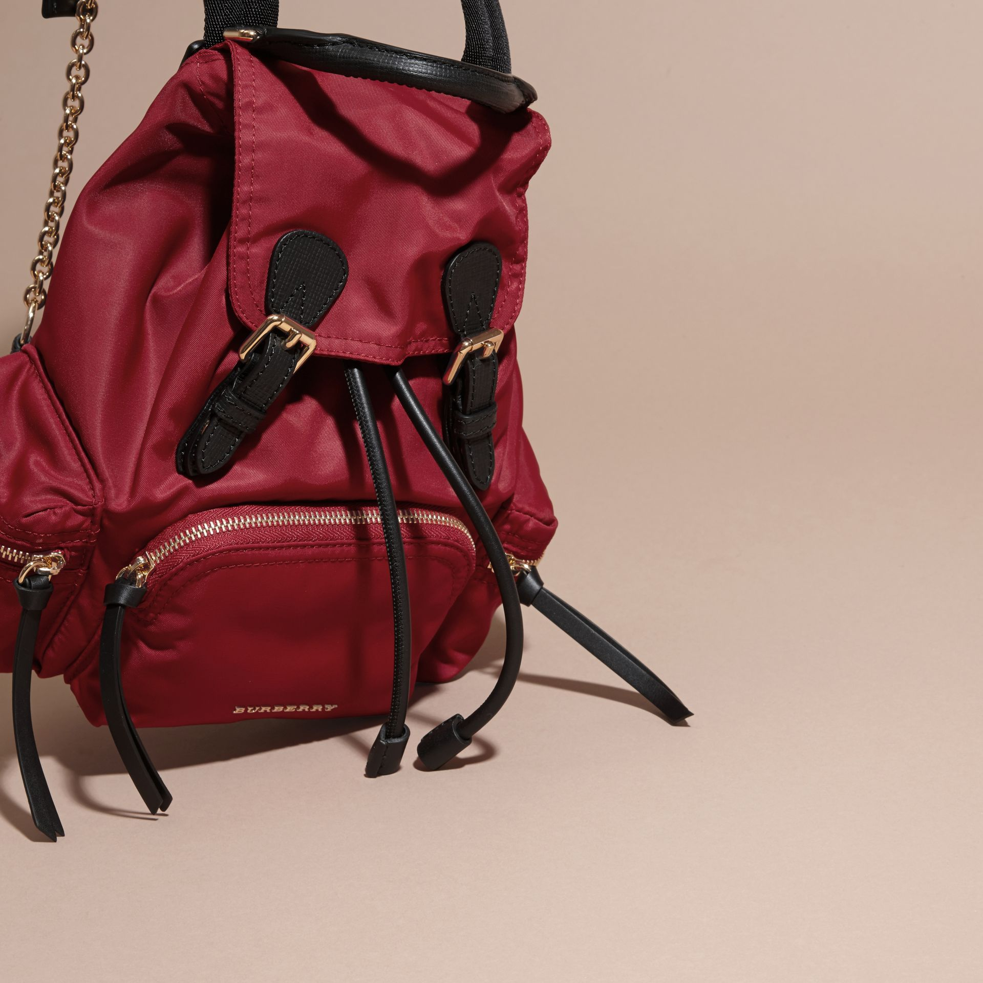 The Small Rucksack in Technical Nylon and Leather Parade Red - gallery image 7