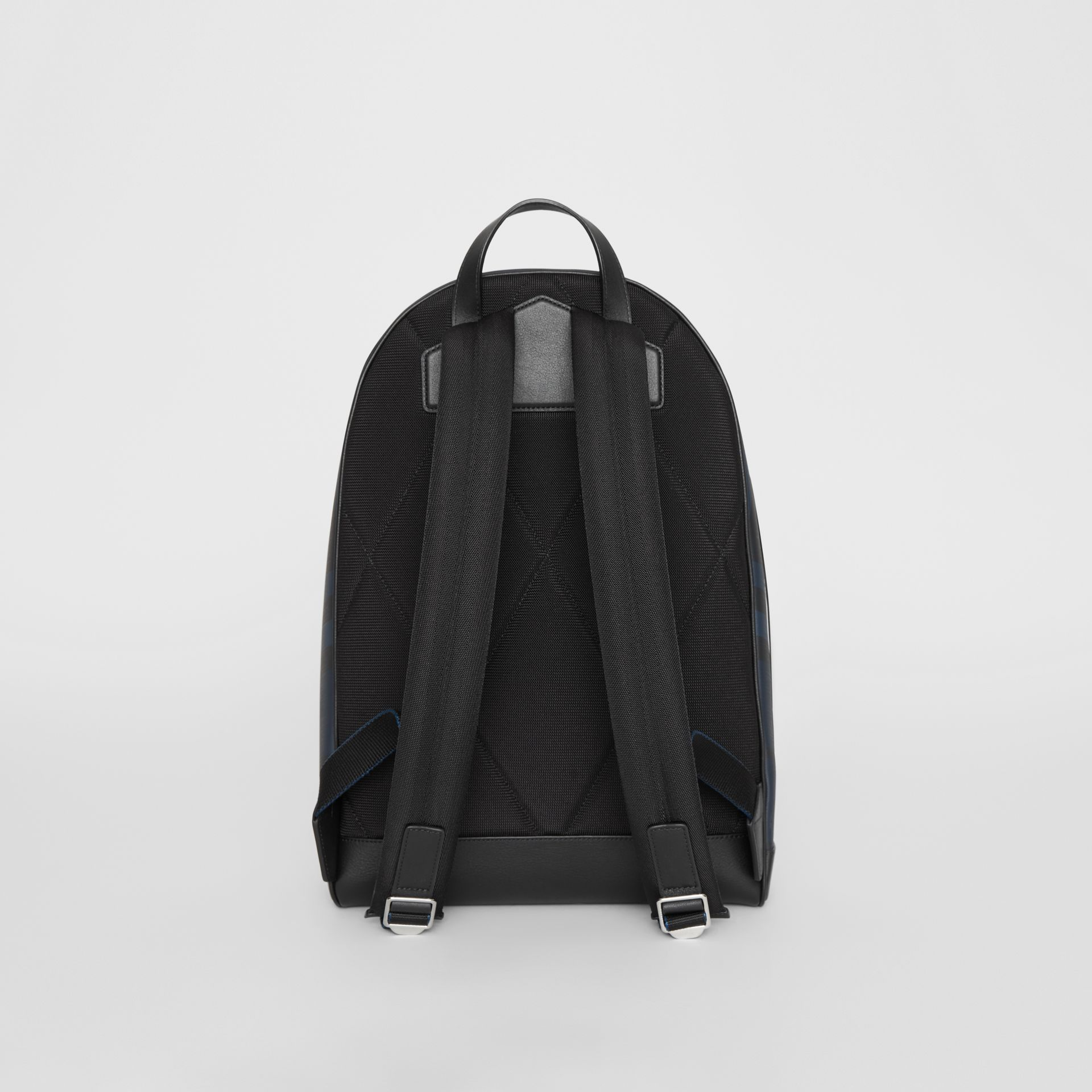 London Check and Leather Backpack in Navy/black - Men | Burberry Hong Kong S.A.R - gallery image 7