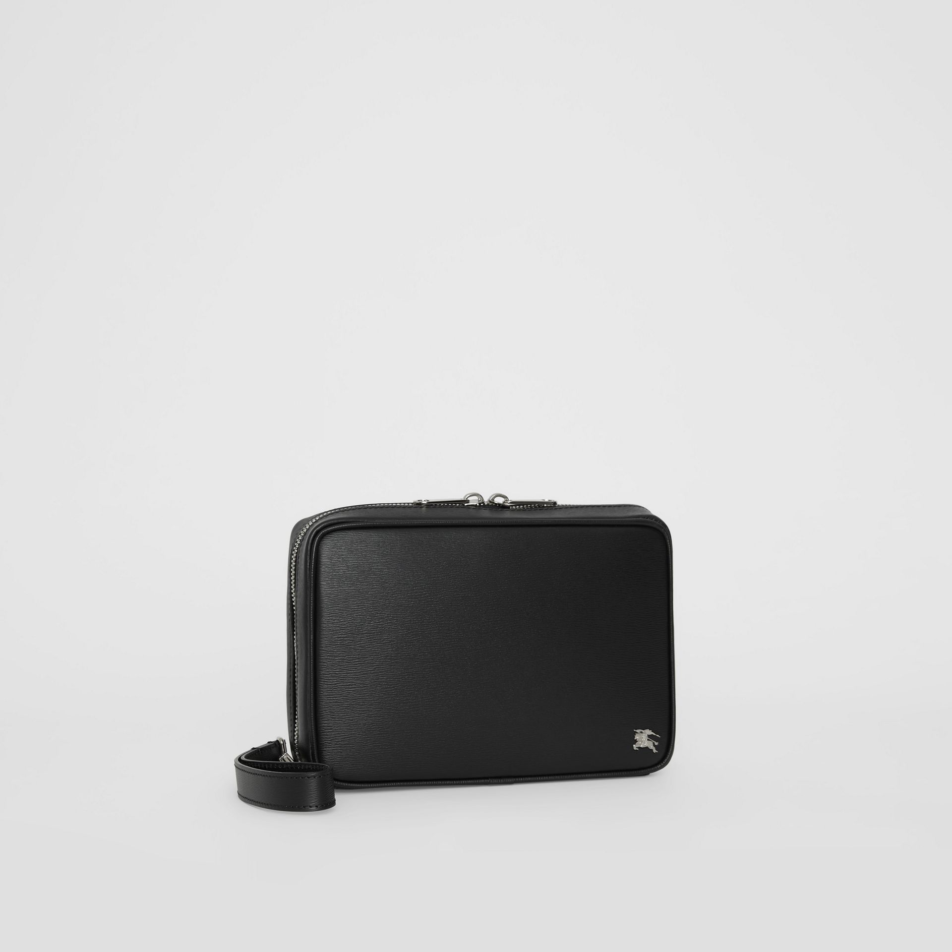 London Leather Travel Pouch in Black - Men | Burberry Singapore - gallery image 6