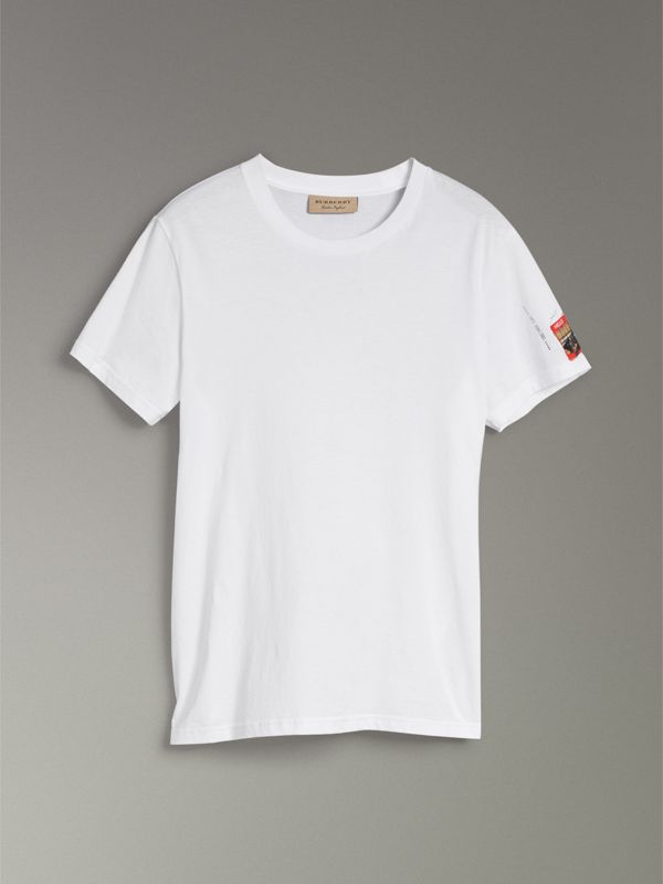 Graffitied Ticket Print T-shirt in White - Men | Burberry Australia - cell image 3