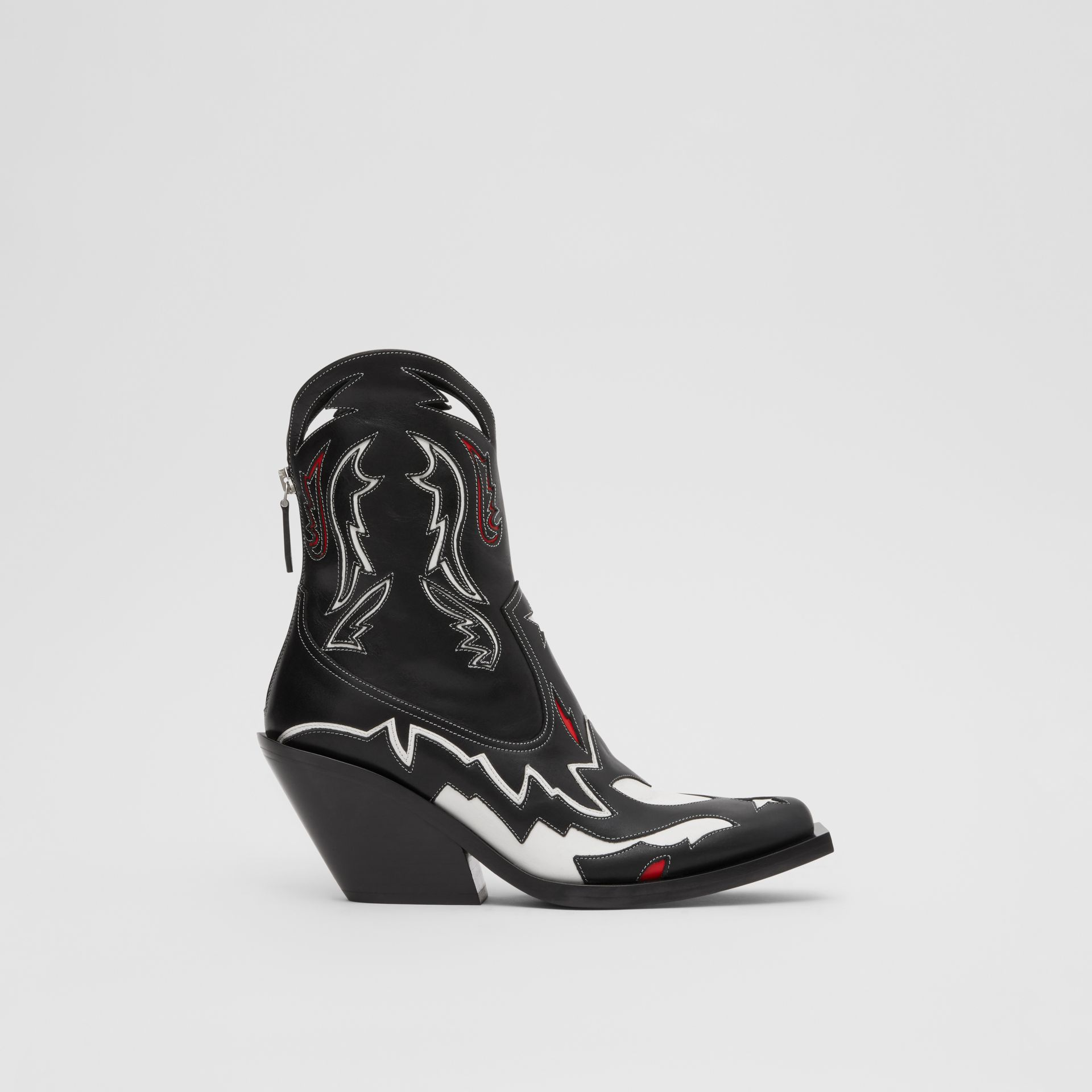 Topstitch Appliqué Leather Boots in Black/white - Women | Burberry - gallery image 5