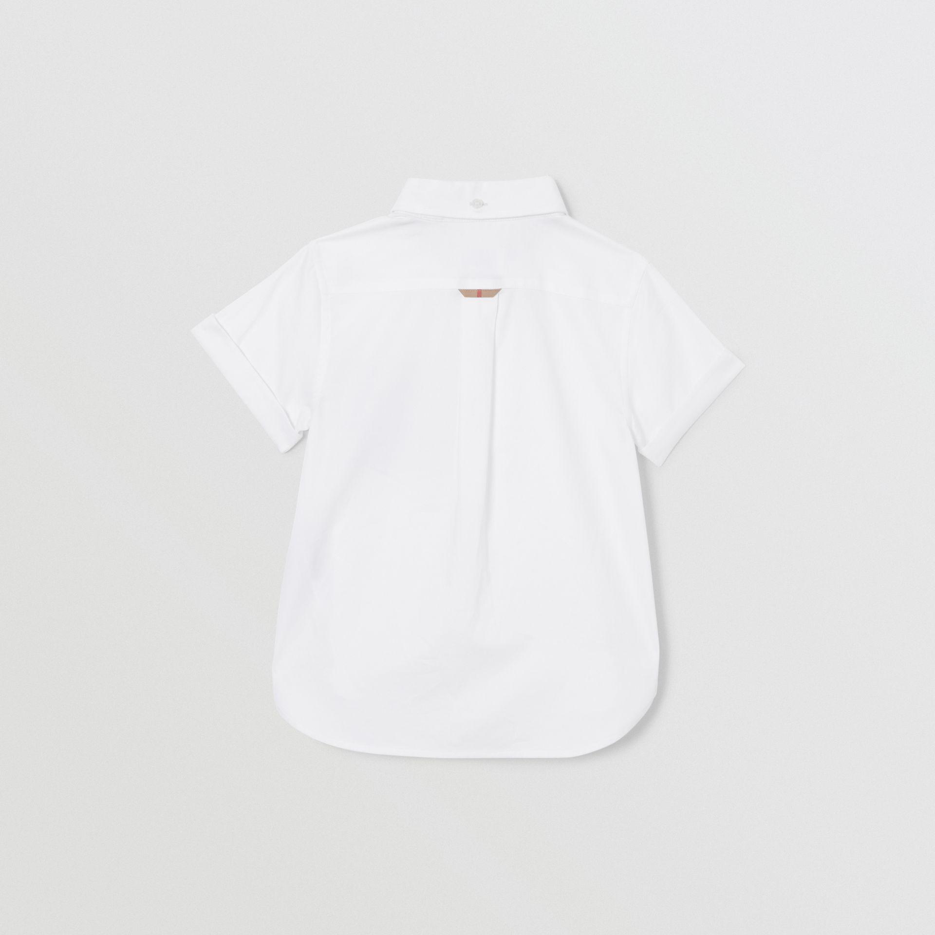 Short-sleeve Vintage Check Trim Cotton Oxford Shirt in White | Burberry United States - gallery image 3
