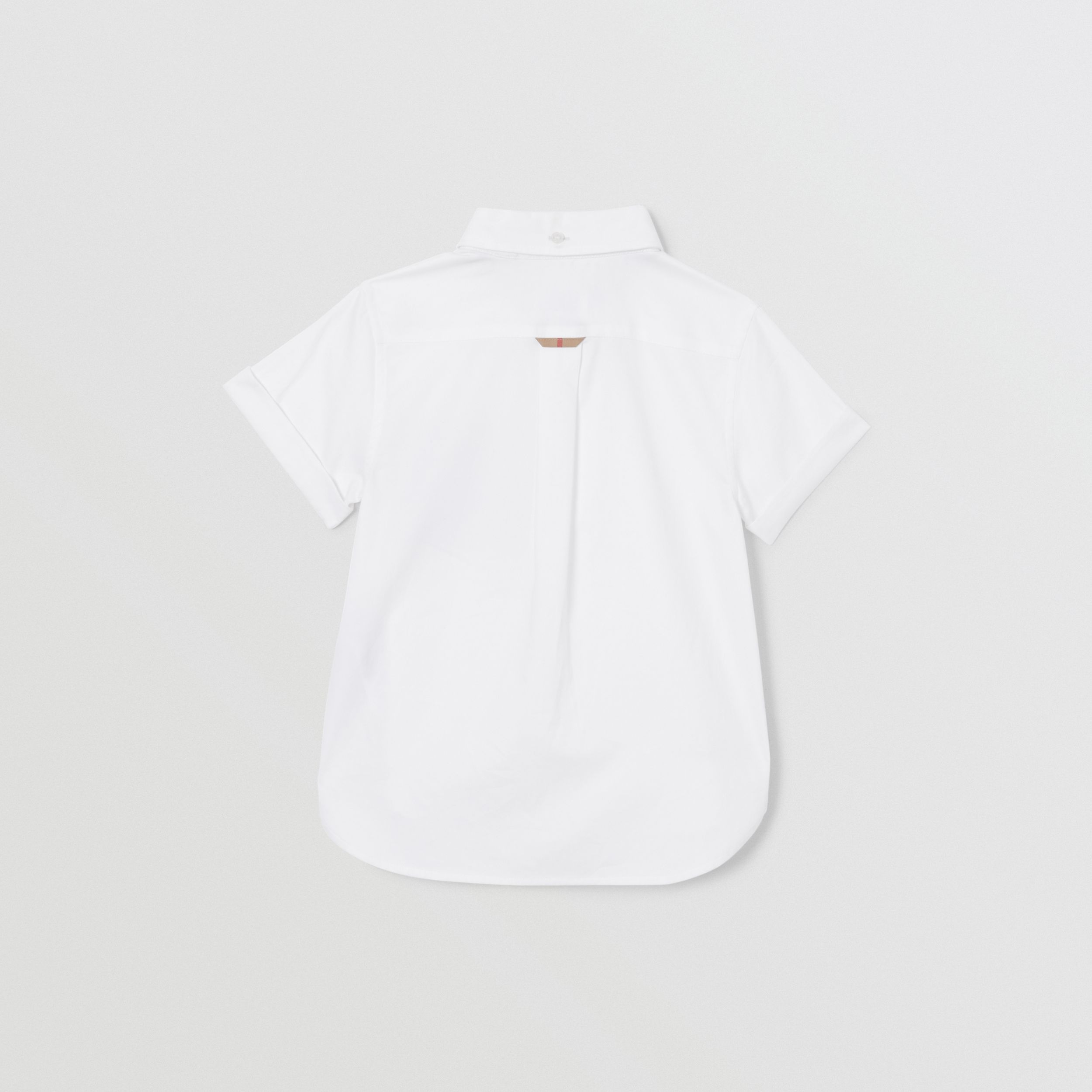 Short-sleeve Vintage Check Trim Cotton Oxford Shirt in White | Burberry Canada - 4