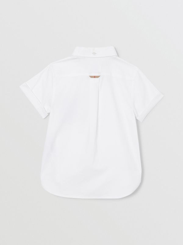 Short-sleeve Vintage Check Trim Cotton Oxford Shirt in White | Burberry United States - cell image 3