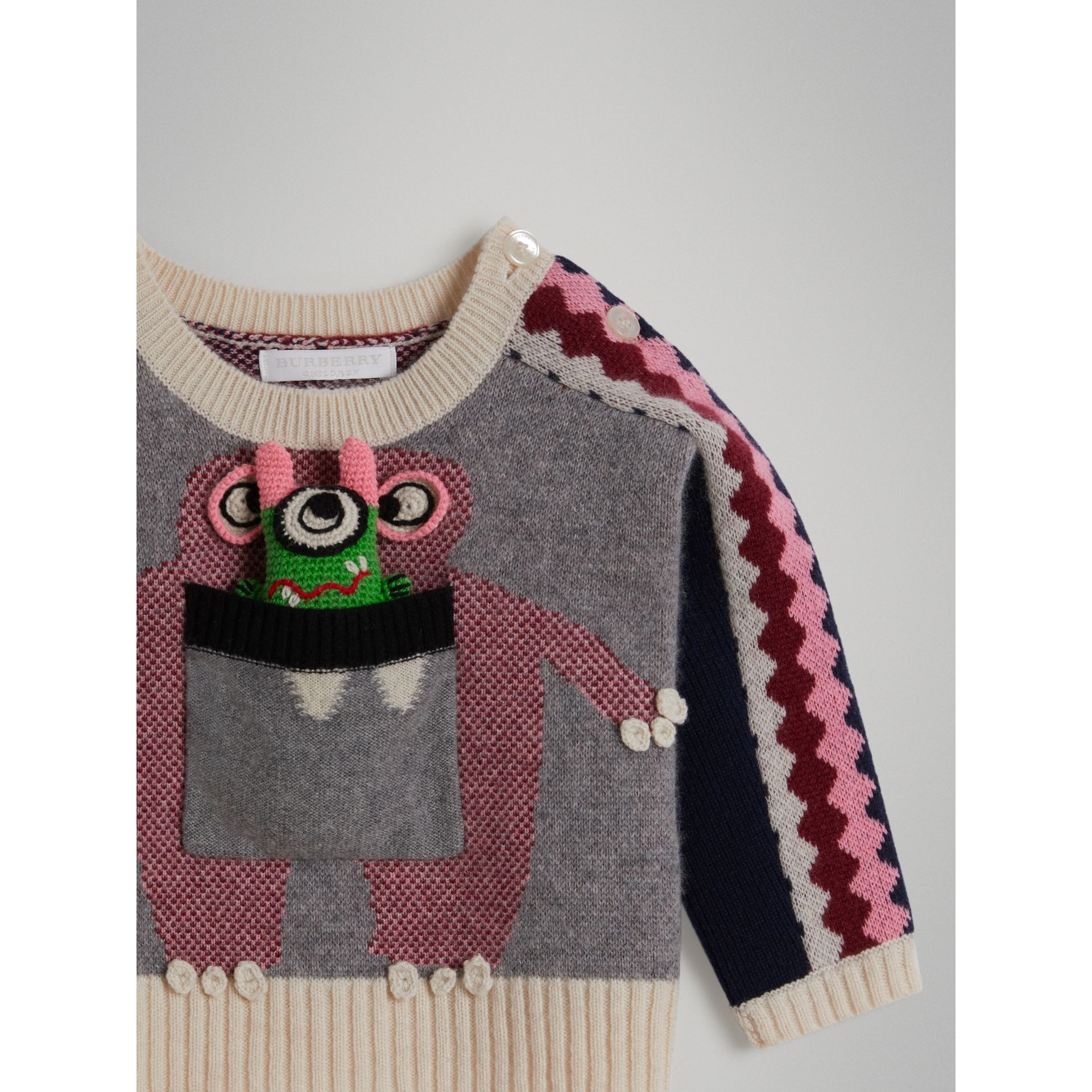 Monster Cashmere Jacquard Sweater in Grey Melange | Burberry - gallery image 1