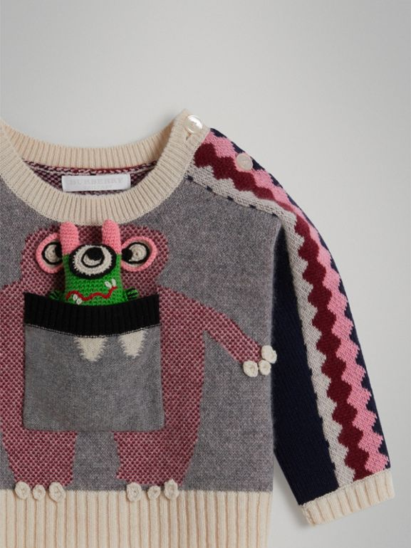 Monster Cashmere Jacquard Sweater in Grey Melange - Children | Burberry United States - cell image 1