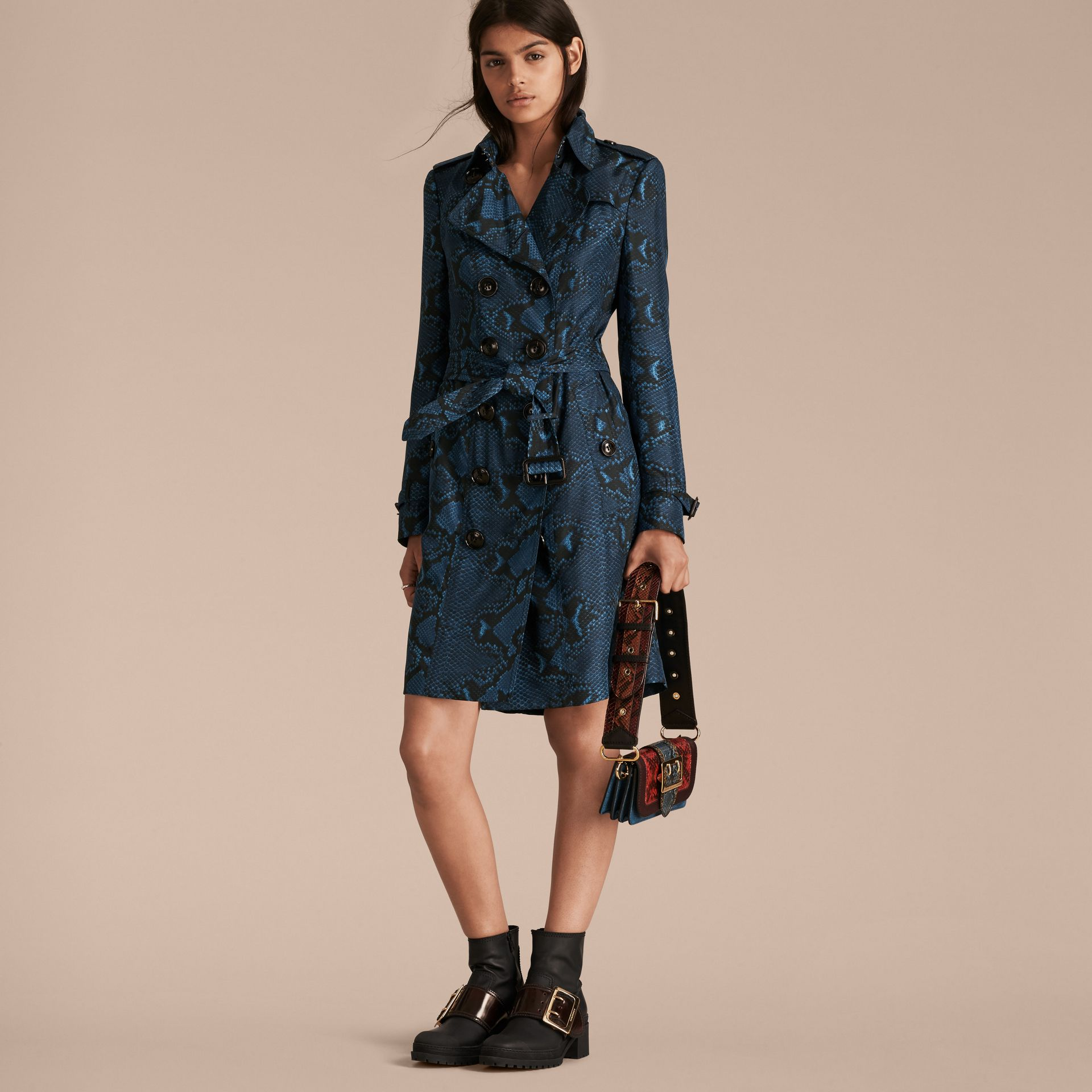 Mineral blue Python Print Silk Trench Coat Mineral Blue - gallery image 7