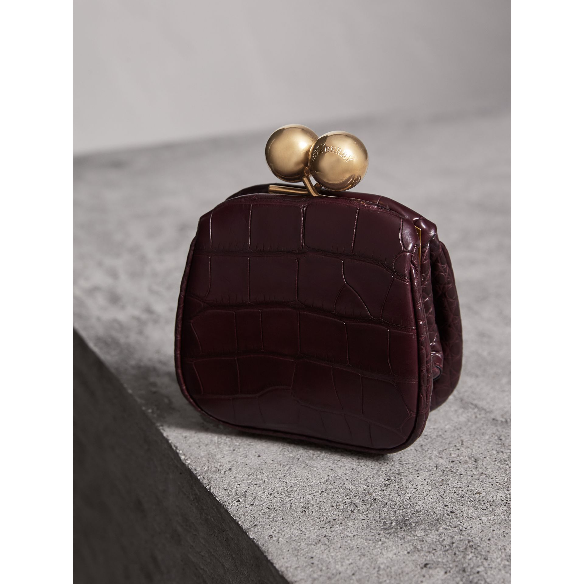 Mini Alligator Metal Frame Clutch Bag in Dark Claret - Women | Burberry United Kingdom - gallery image 2