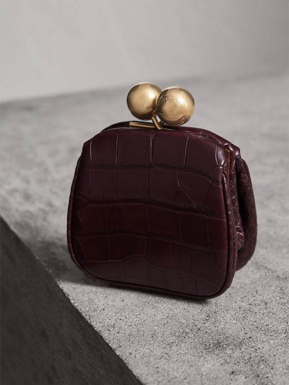 Mini Alligator Metal Frame Clutch Bag in Dark Claret - Women | Burberry United Kingdom - cell image 2