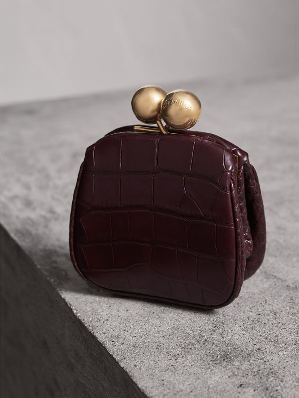 Mini Alligator Frame Bag in Dark Claret - Women | Burberry United Kingdom - cell image 2