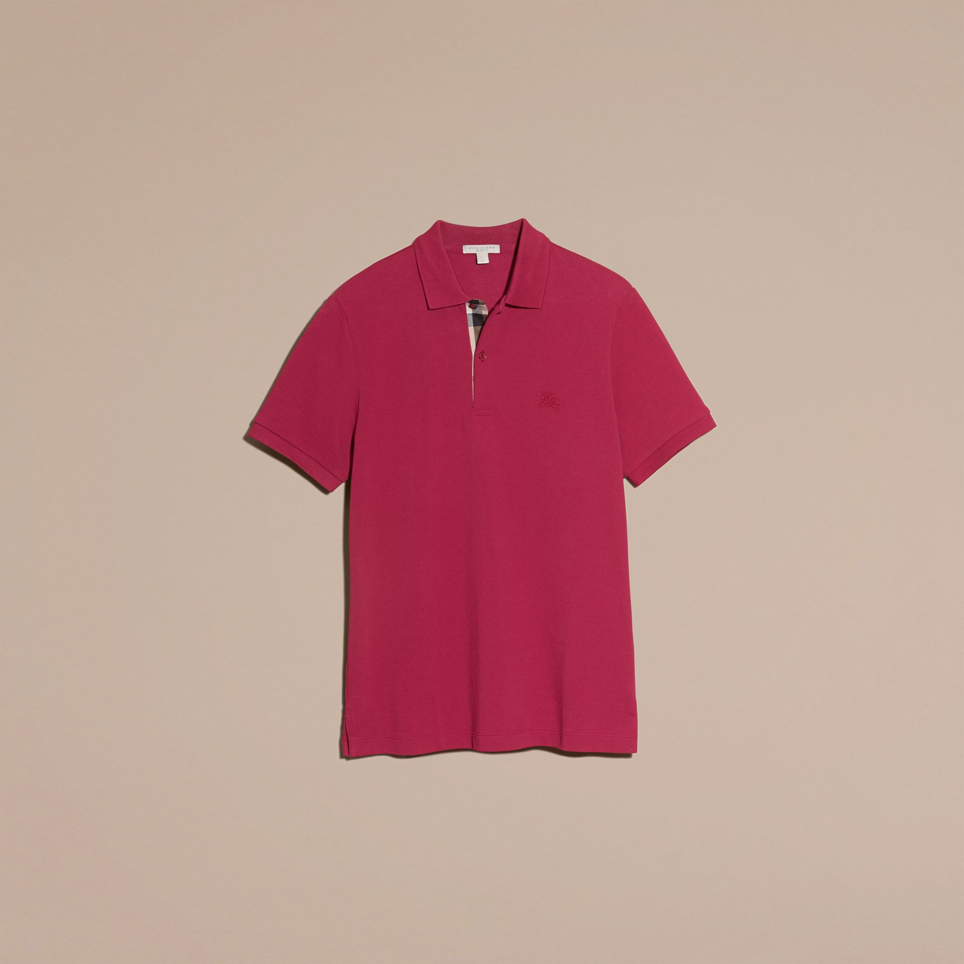 Check Placket Cotton Piqué Polo Shirt Raspberry Sorbet - gallery image 4