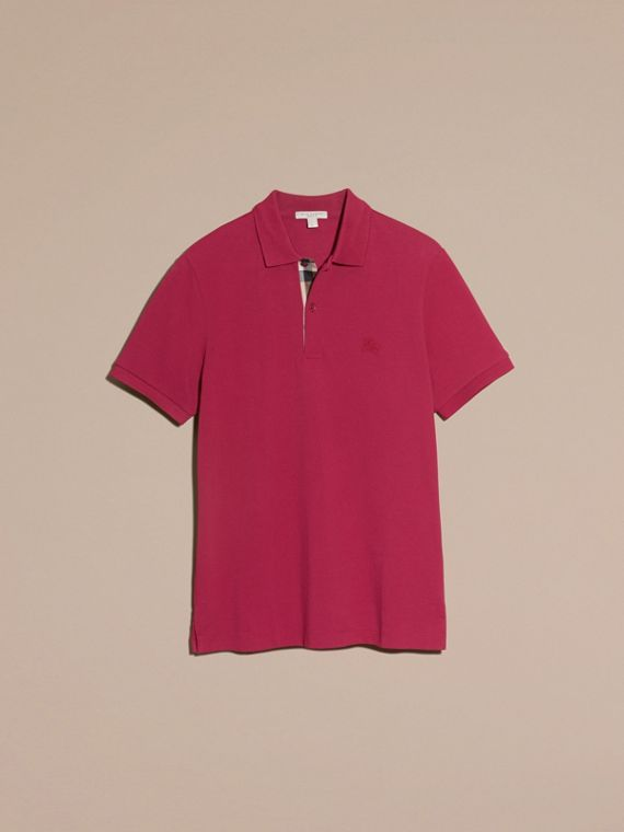 Check Placket Cotton Piqué Polo Shirt in Raspberry Sorbet - Men | Burberry - cell image 3
