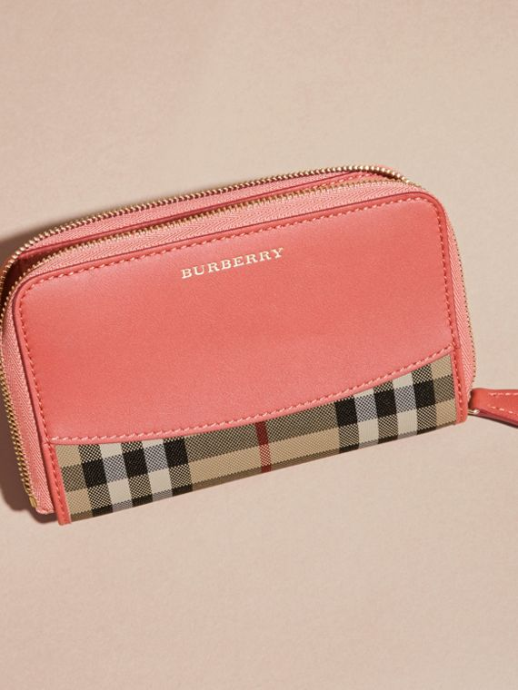Horseferry Check and Leather Ziparound Wallet Antique Rose - cell image 2
