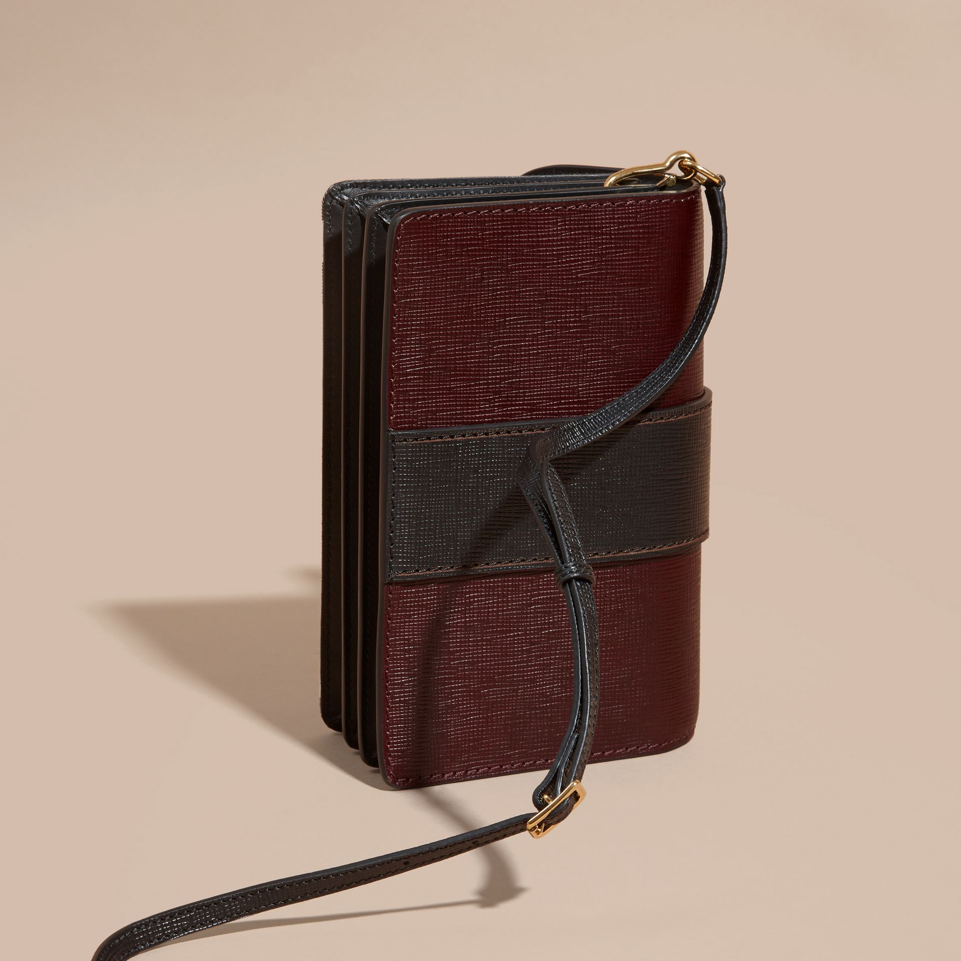 The Medium Buckle Bag in House Check and Textured Leather in Burgundy/black - gallery image 5
