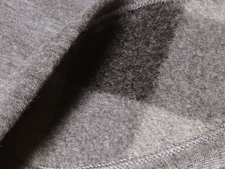 Check Detail Merino Wool Cardigan in Mid Grey Melange - cell image 1