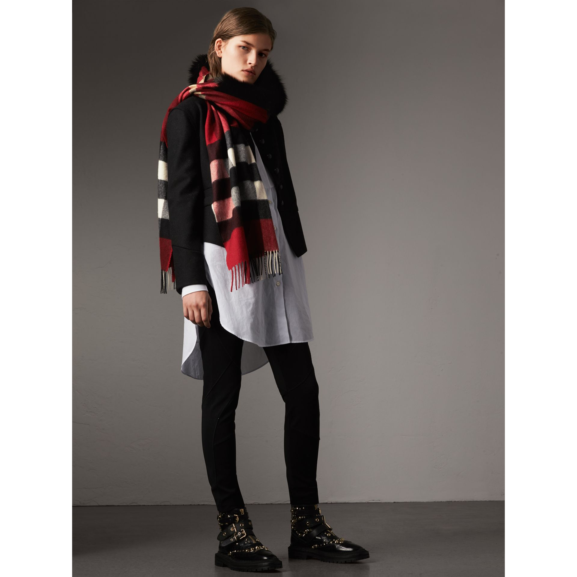 Fox Fur Trim Check Cashmere Scarf in Parade Red - Women | Burberry - gallery image 2