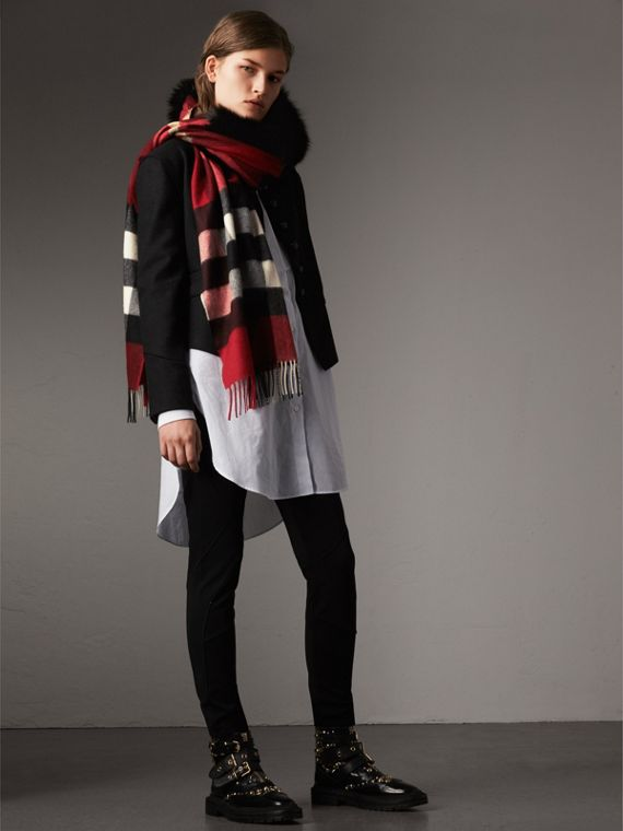Fox Fur Trim Check Cashmere Scarf in Parade Red - Women | Burberry - cell image 2