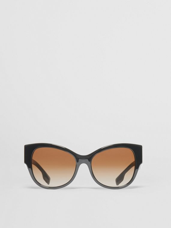 Monogram Detail Butterfly Frame Sunglasses in Black/vermillion