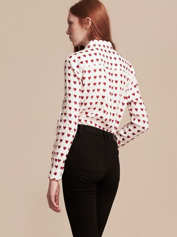 Heart Print Linen Shirt in Parade Red - cell image 2