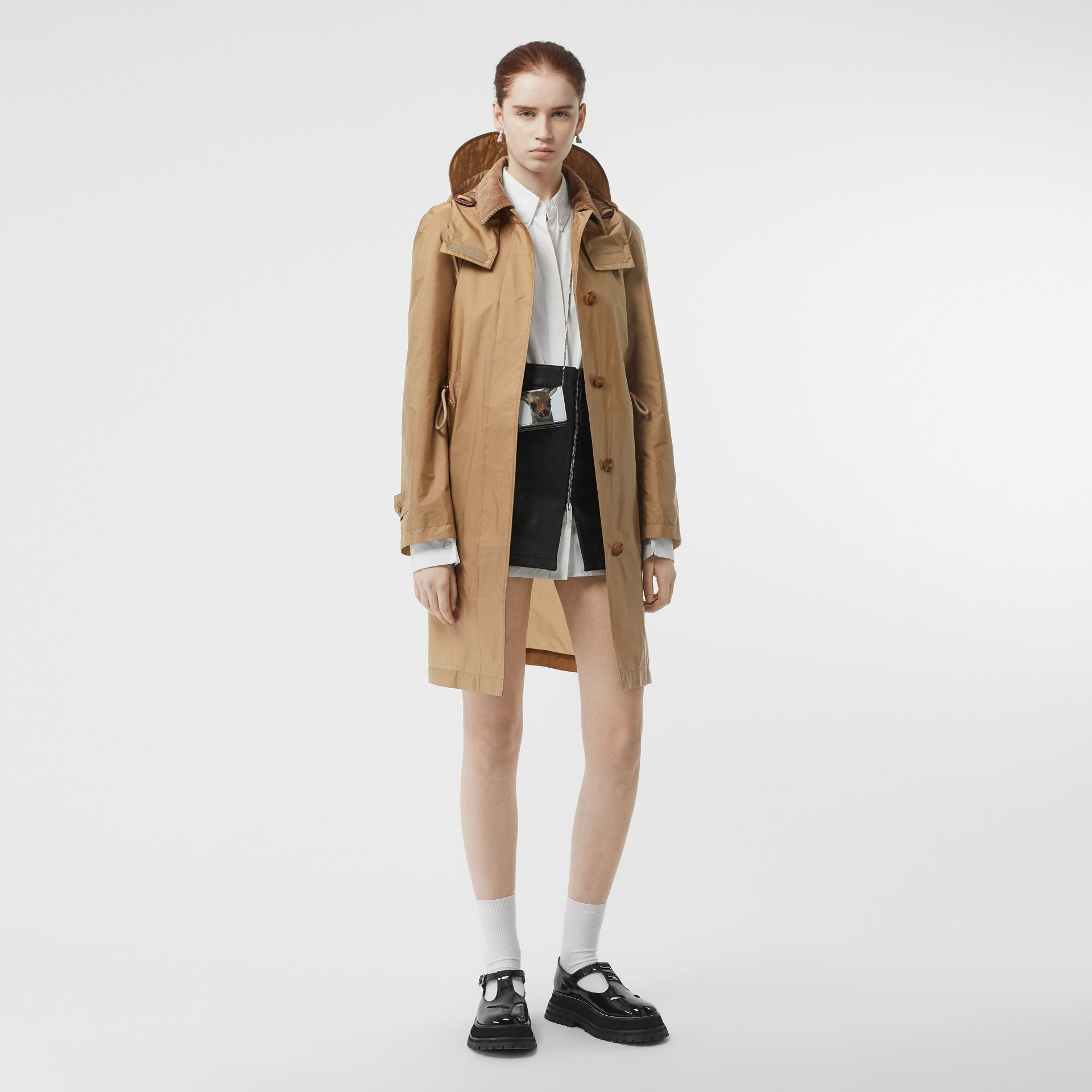 Detachable Hood Taffeta Parka in Honey - Women | Burberry Australia - gallery image 0